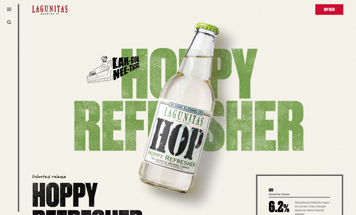Lagunitas Hoppy Refresher beer detail page, bottle floatingon front and text with texture behind it.