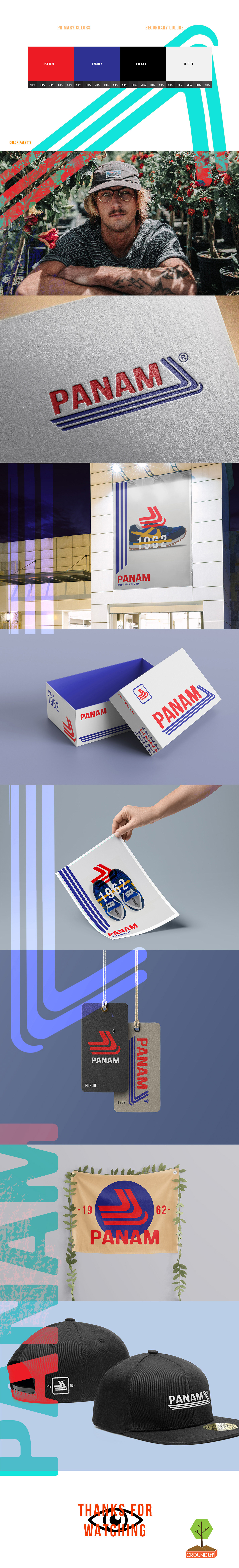panam tennis Fashion  brands logo redesign up ground