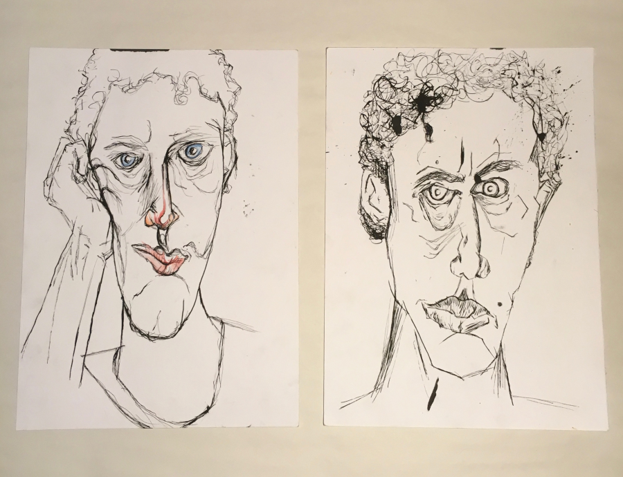 ILLUSTRATION  self portrait watercolor ink pen ink