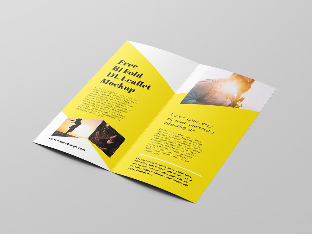 free bi fold dl brochure mockup on behance