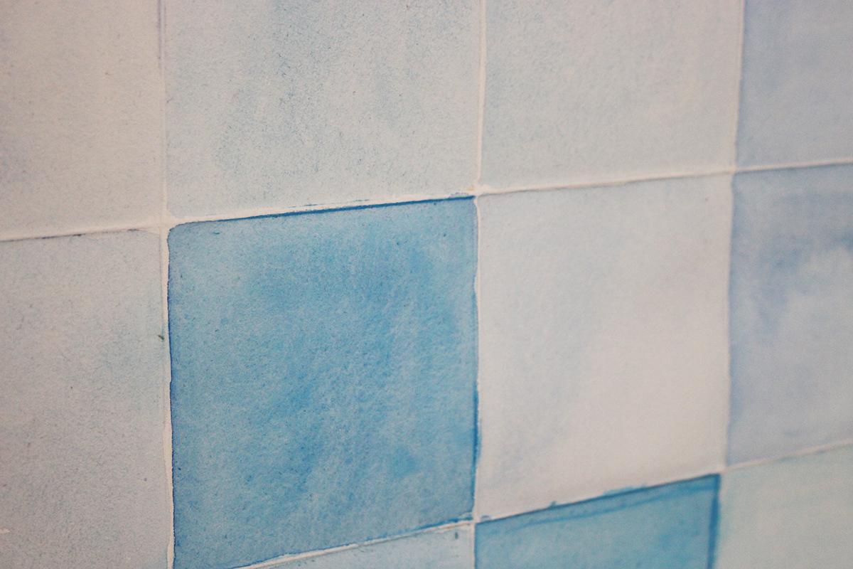 Teardrop aquarelle pixel blue