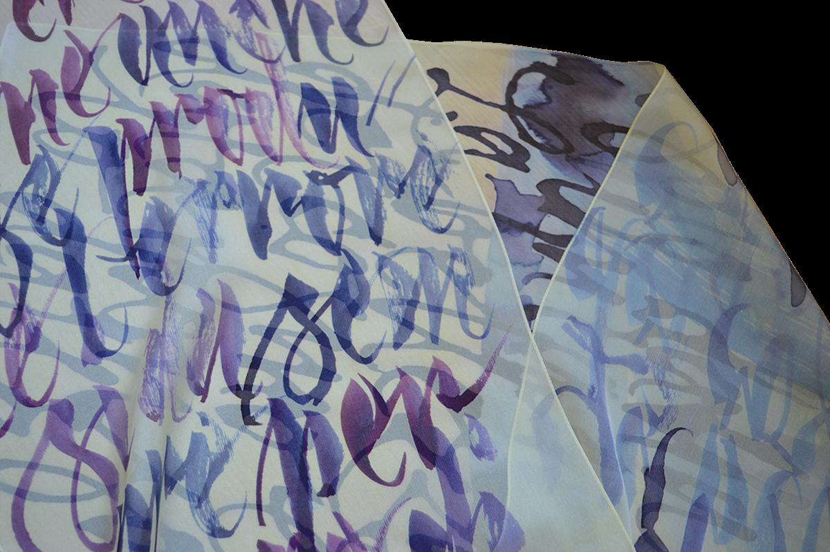 Calligraphy   lettering Fashion  accessories crafts   design SILK