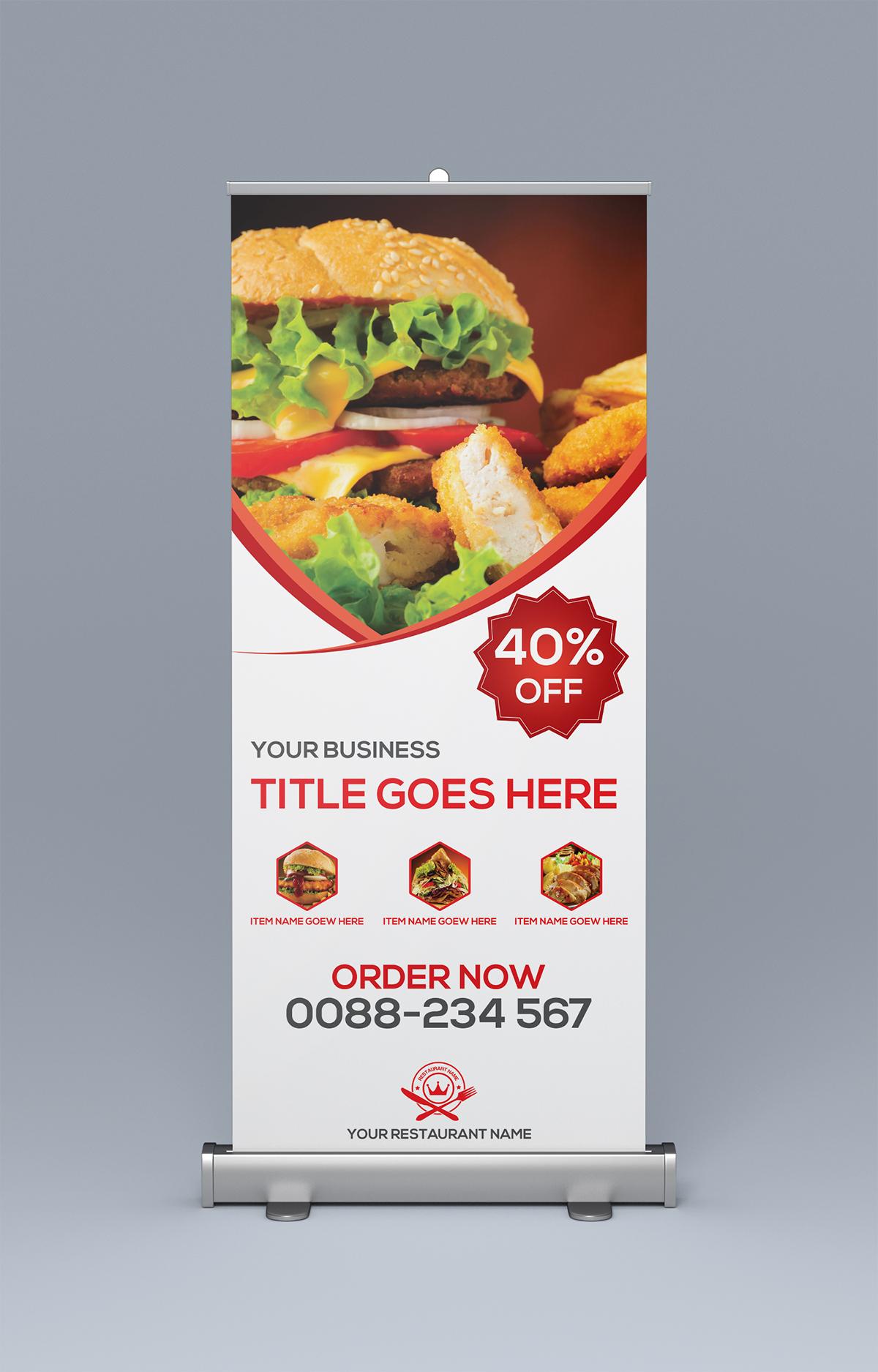 Restaurant roll up banner on behance