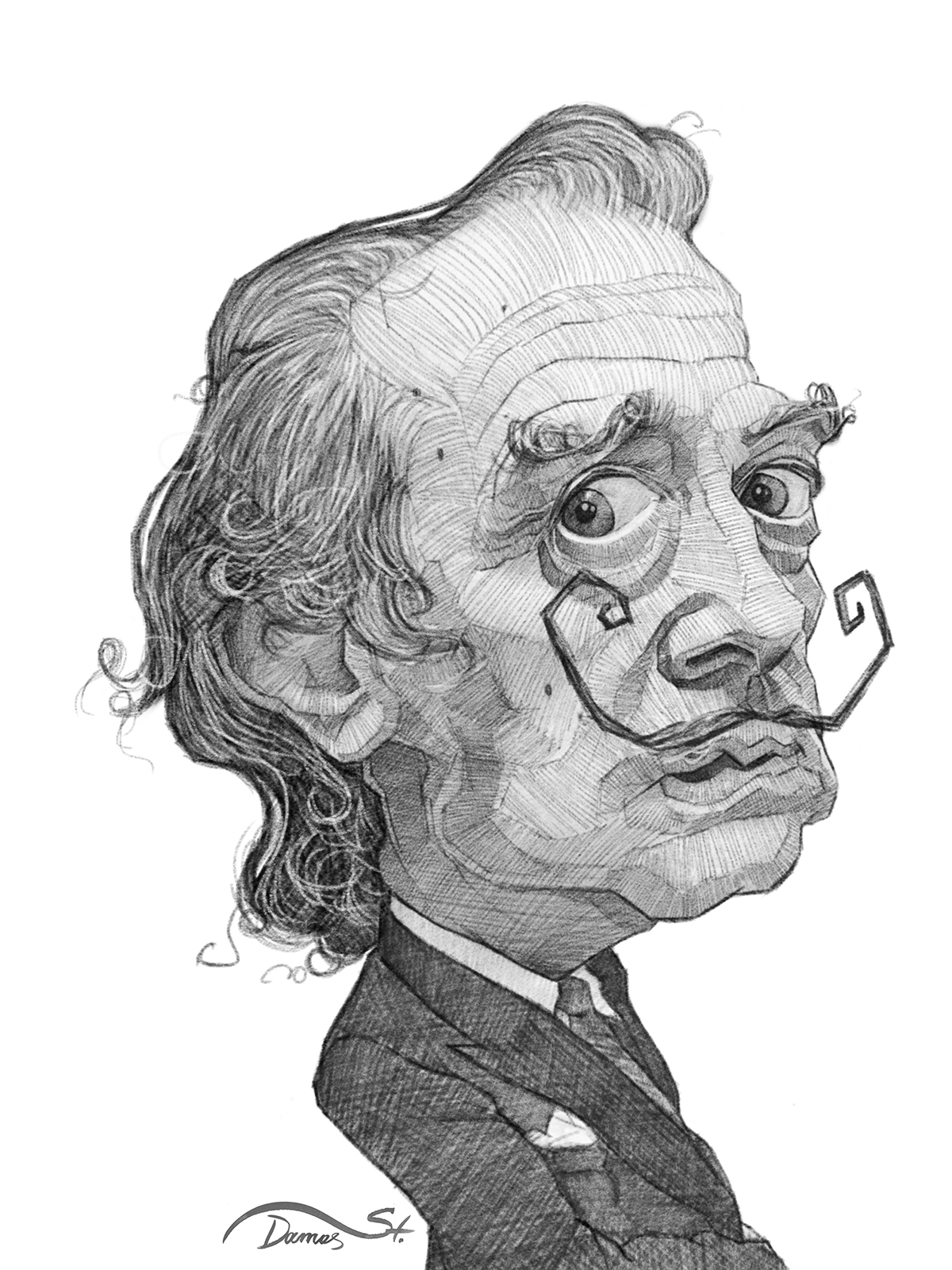 cartoon caricature   portrait face editorial Fun funny dali painter famous b&w art artistic spain sketch
