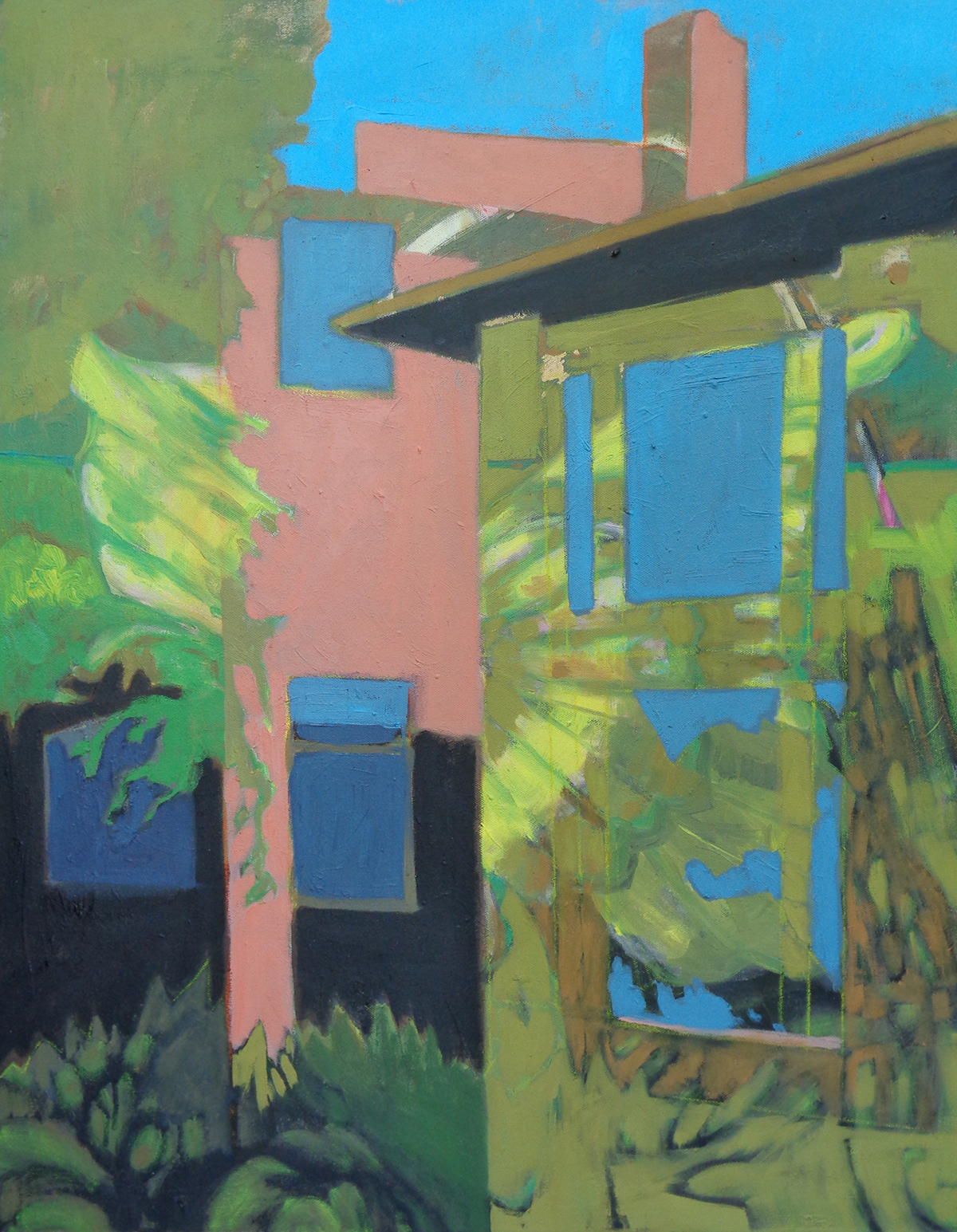 architecture fine art house Landscape Nature Oil Painting plants