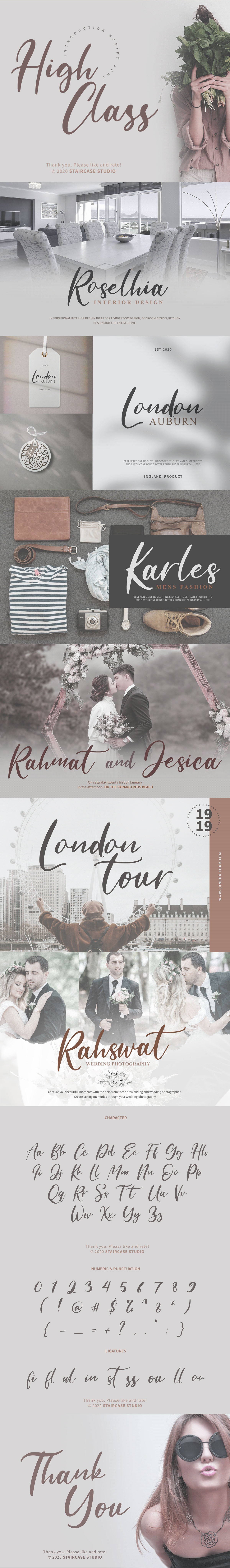 brand branding  font fonts HIGH CLASS Invitation Landmark Logotype Script wedding