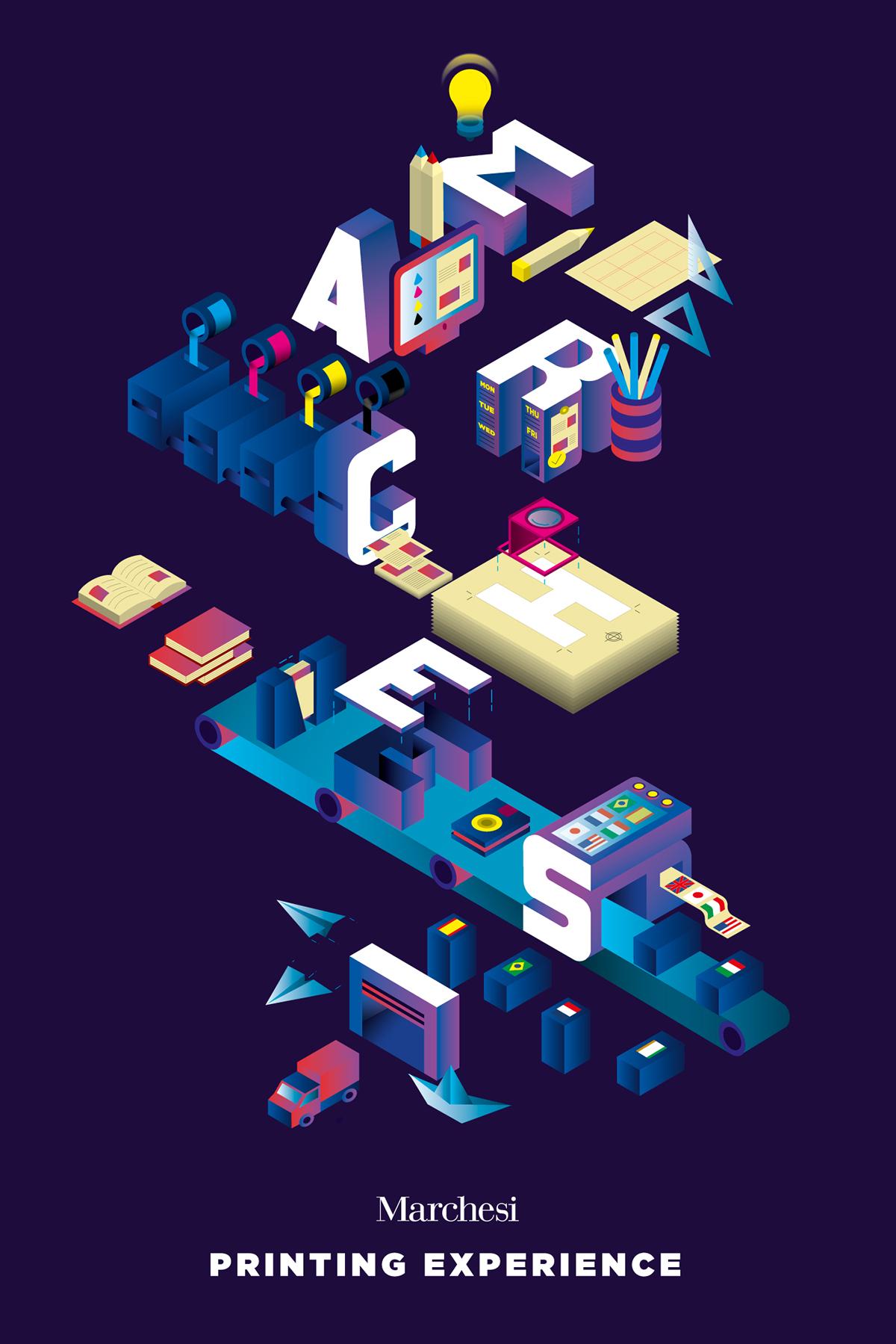 Isometric poster lettering ILLUSTRATION  press typography   inspire branding  creative