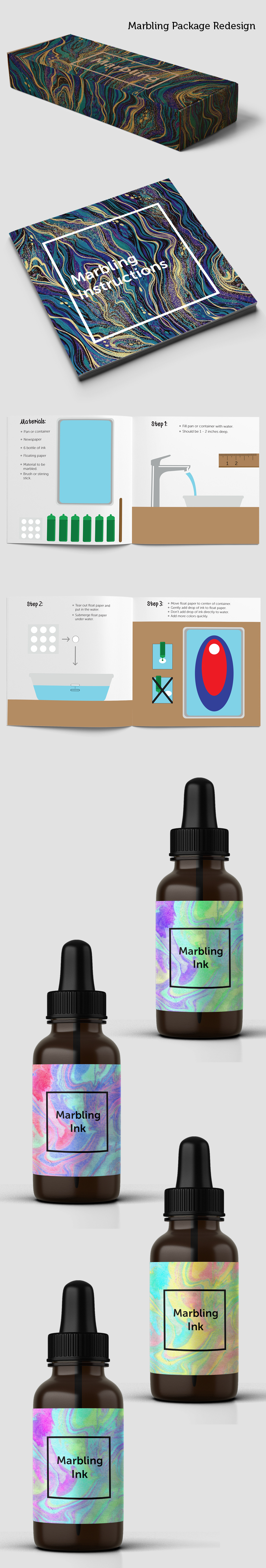 marbling box dropper bottles BROCHURE BOOK how to instructions