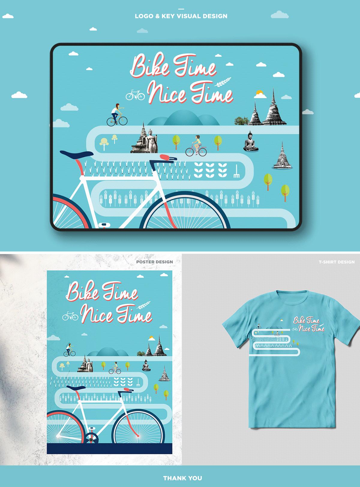 Bike blue campaign graphic design  Key Visual Design logo Poster Design T-Shirt Design