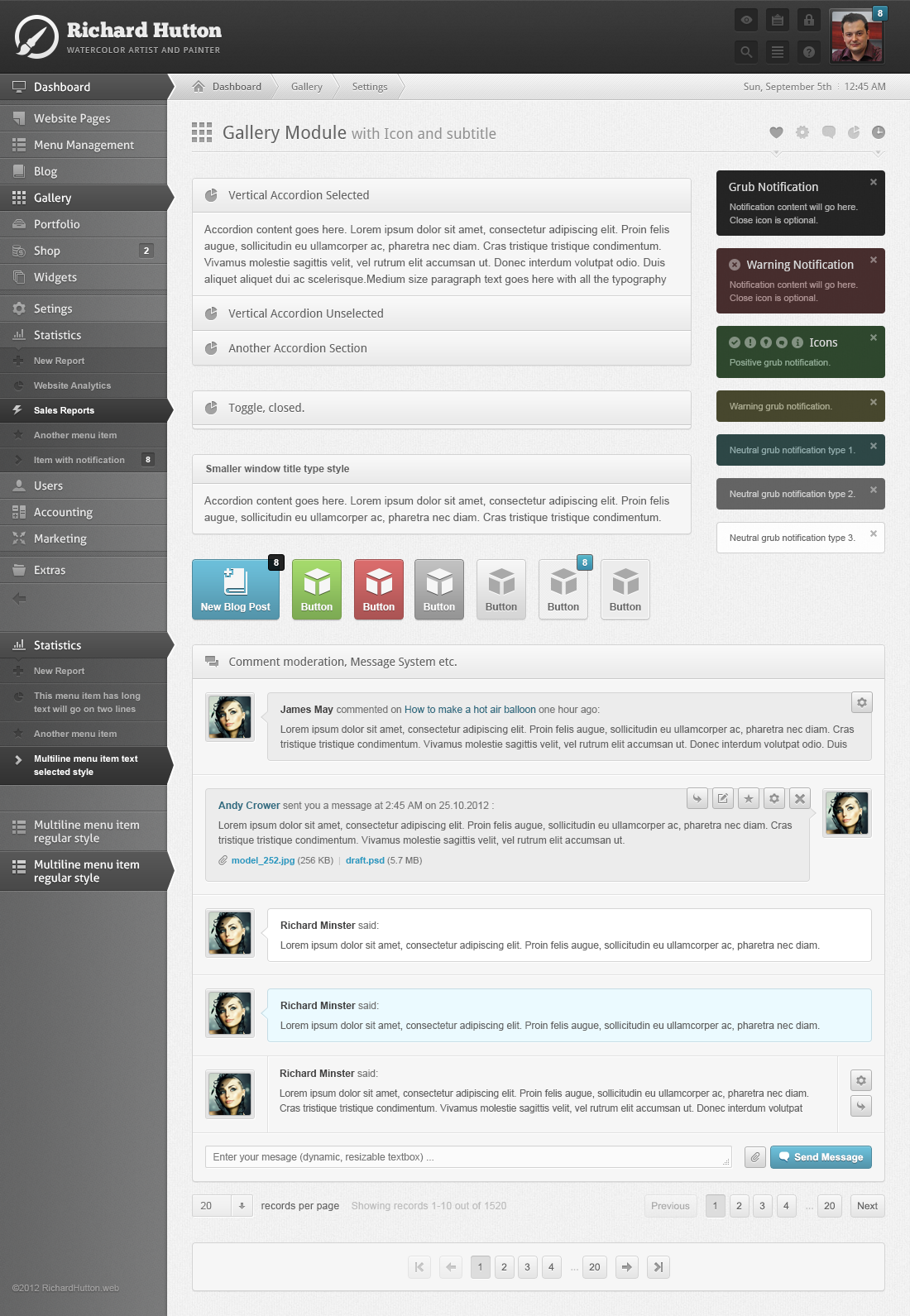 UI ux User Experience Design user interface admin panel cms Content Management System