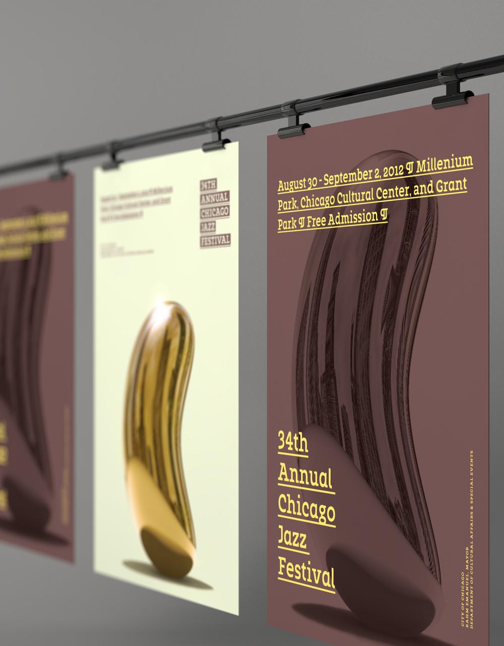 poster jazz festival bean gold Intrument chicago print microphone