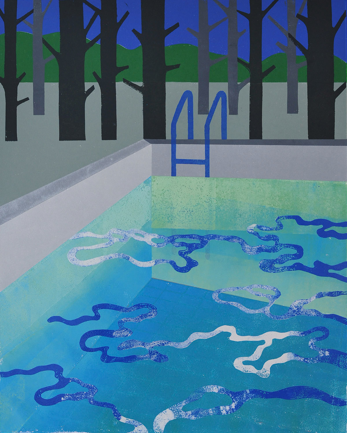 swimming pool forest handprinted print