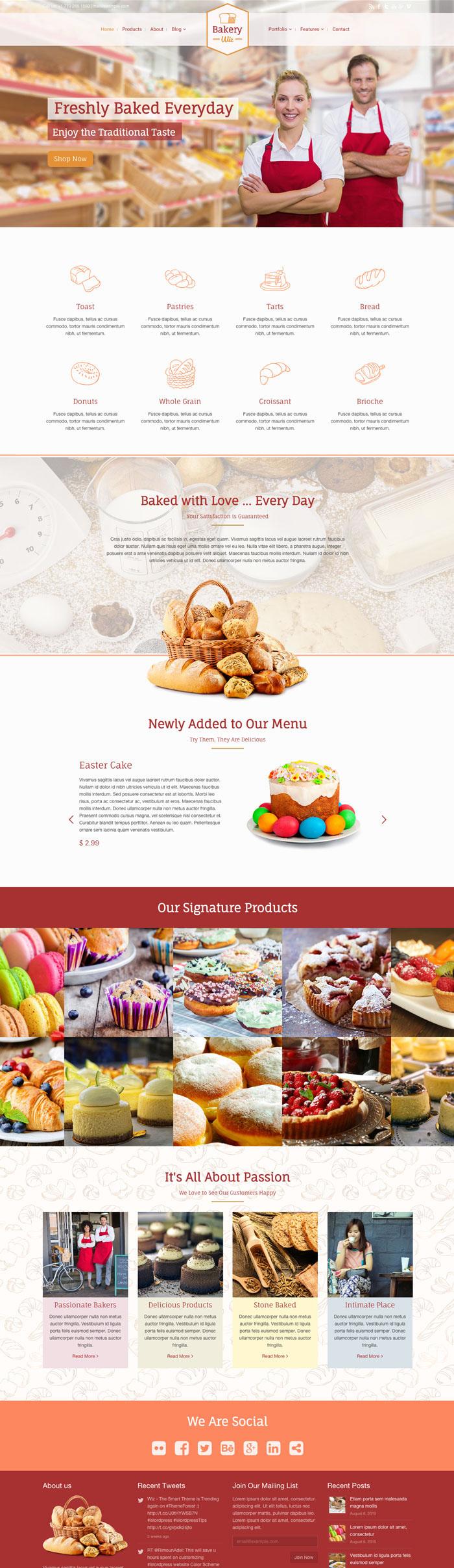 wordpress Theme bakery pastry theme forest Web Design  web development