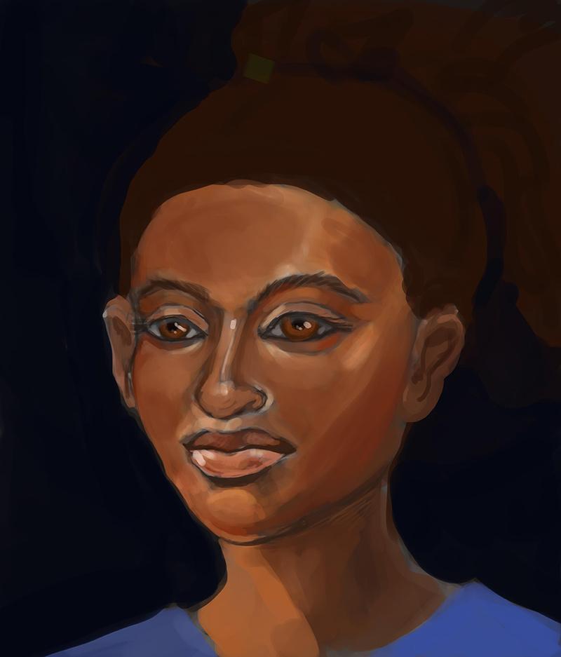 nefertiti portrait digital painting by Zoe Zuniga