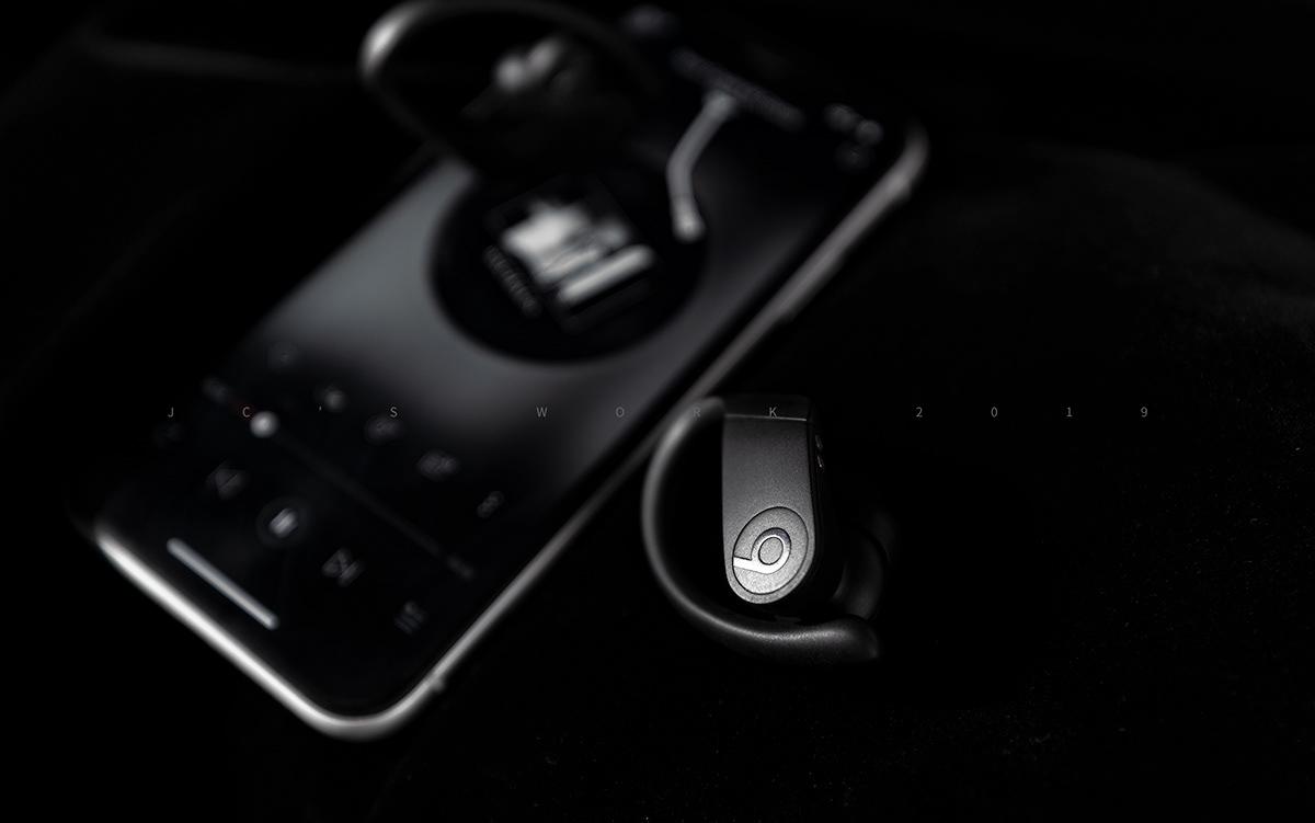 True Wireless beats Powerbeats Pro retouching  retouch power black lifestyle Photography  dark
