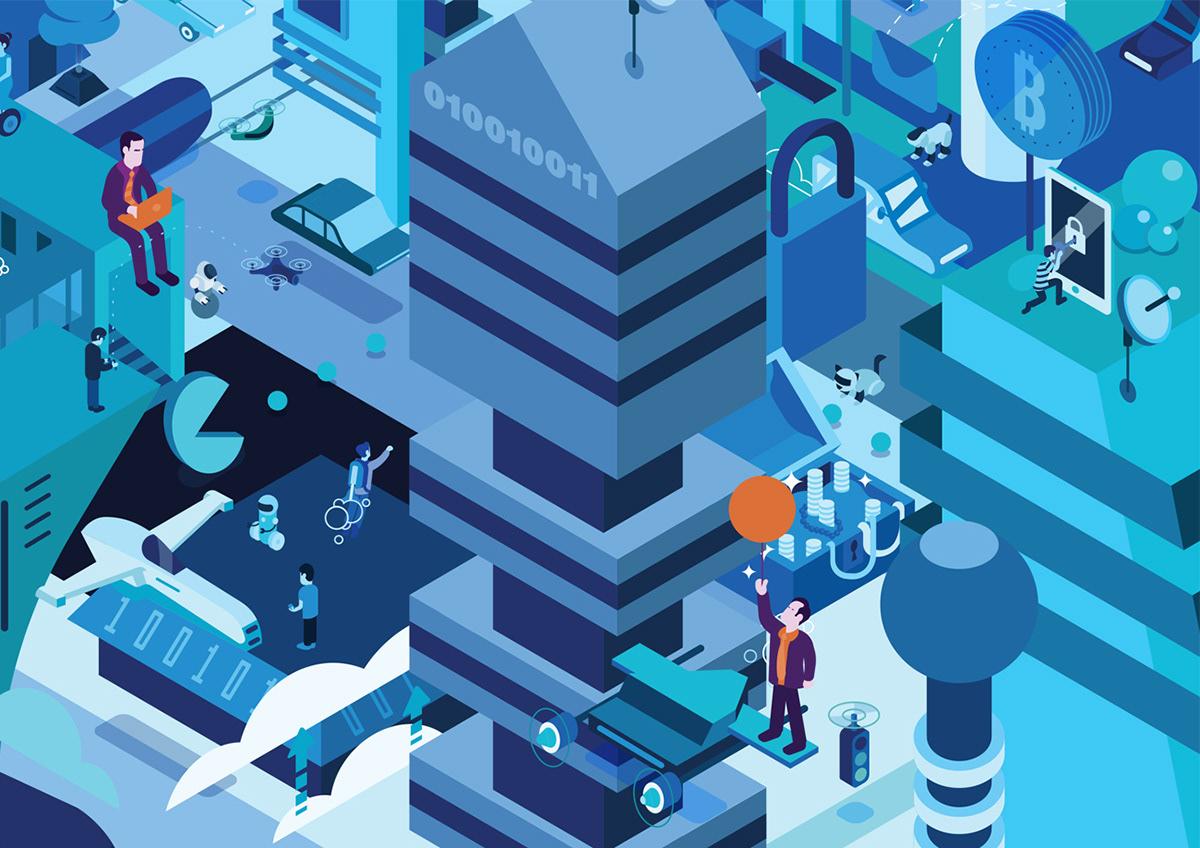future futuristic Isometric cyber robot Space
