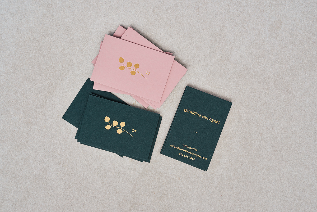 art direction  branding  business card graphic design  hotstamping Osteopath Stationery wellbeing gold