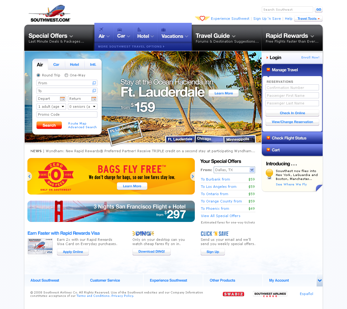 Southwest airlines redesign — www. Southwest. Com on behance.