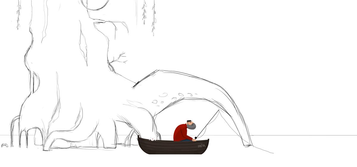 2D animation  shortfilm ILLUSTRATION  Fisherman little things time Nature