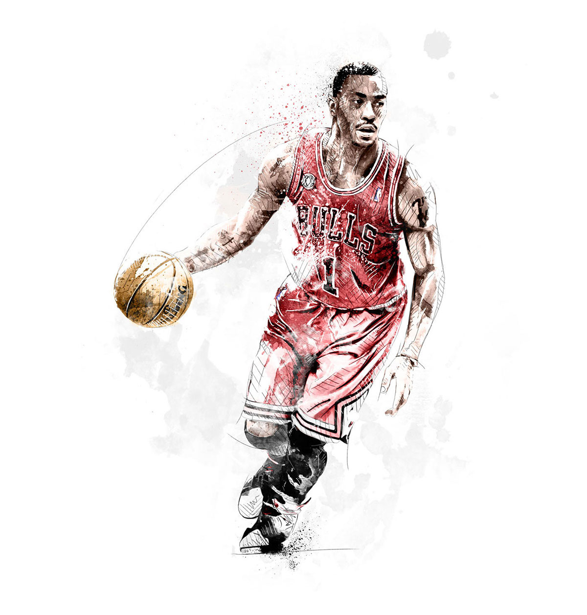 sport watercolor ink digital wacom photoshop football soccer Pirlo basketball