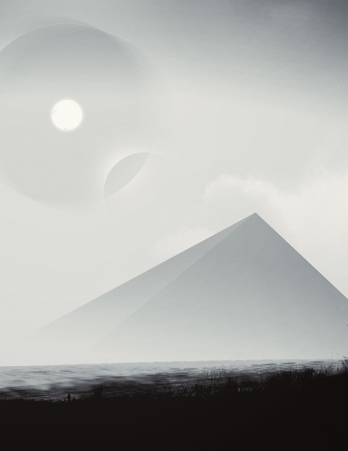 Landscape pyramids Sun stars monochrome black and white Ocean SKY birds DISTORTED lonely dark pessimistic noise Painted