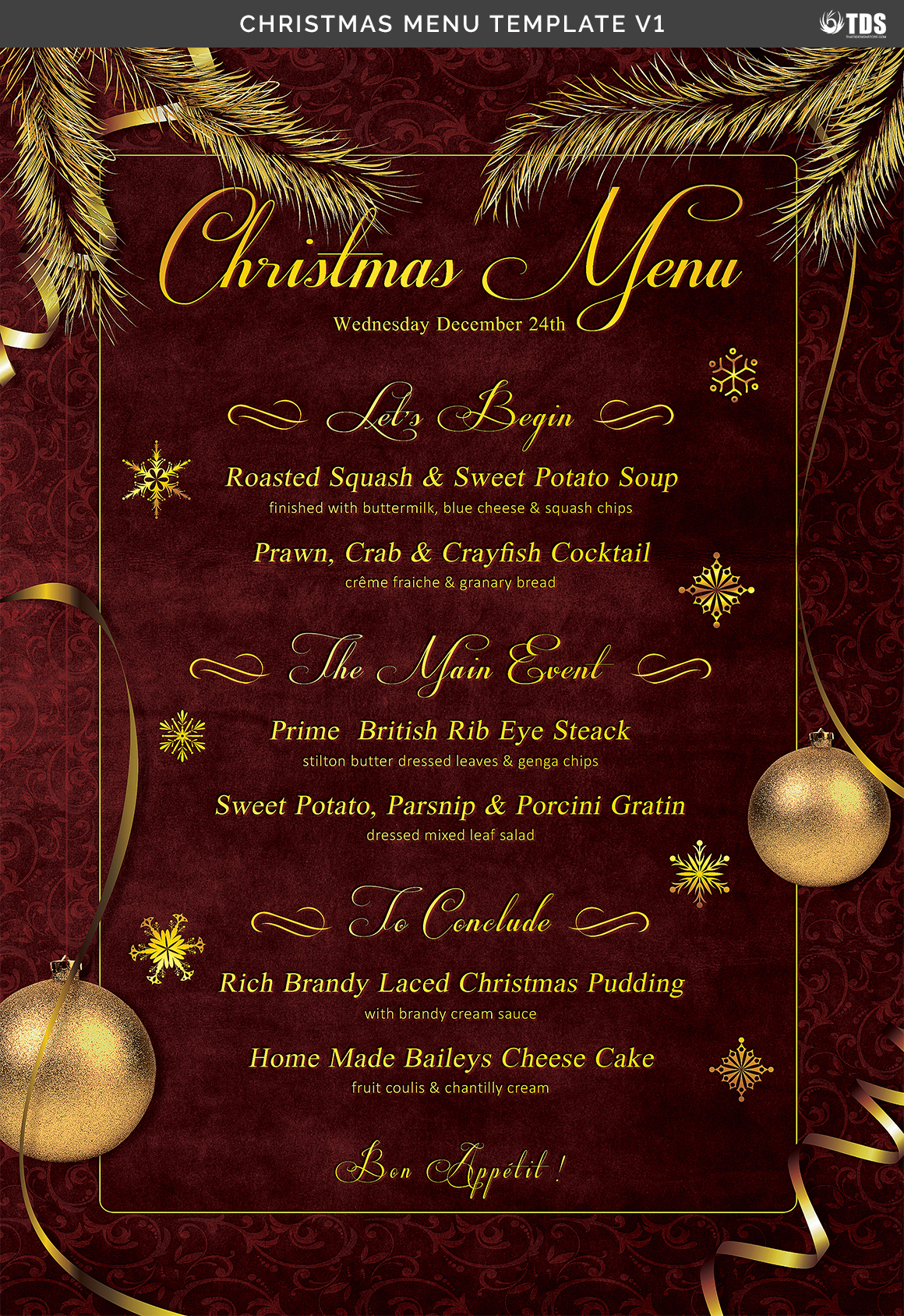 Christmas Menu Template V1 On Behance