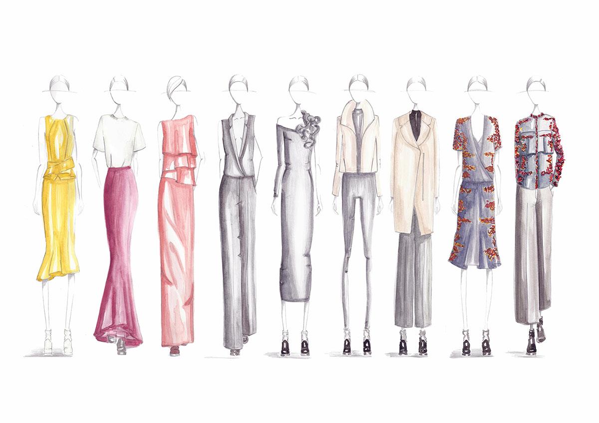 fashion design,fashion illustration,croquis,hand drawing,adobe illustrator,flat drawings,watercolor,pencil,editorial,runway