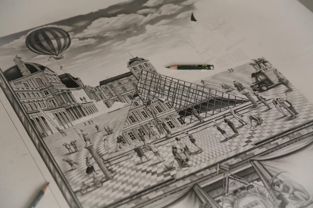 JR Violaine & Jeremy black & white engraving pencil louvre pyramide illuminati hyperrealism CARA DELEVINGNE Arcade Fire Nils Fhram daniel buren art