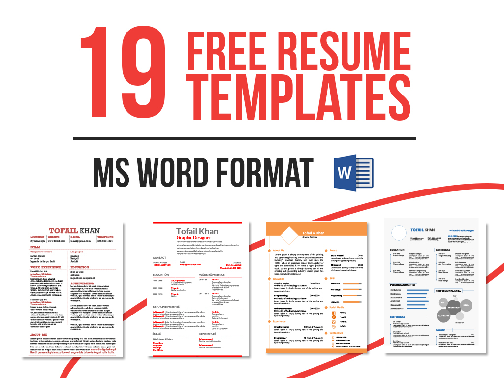 Resume Template Free Word Free Msword Resume And Cv Template Free