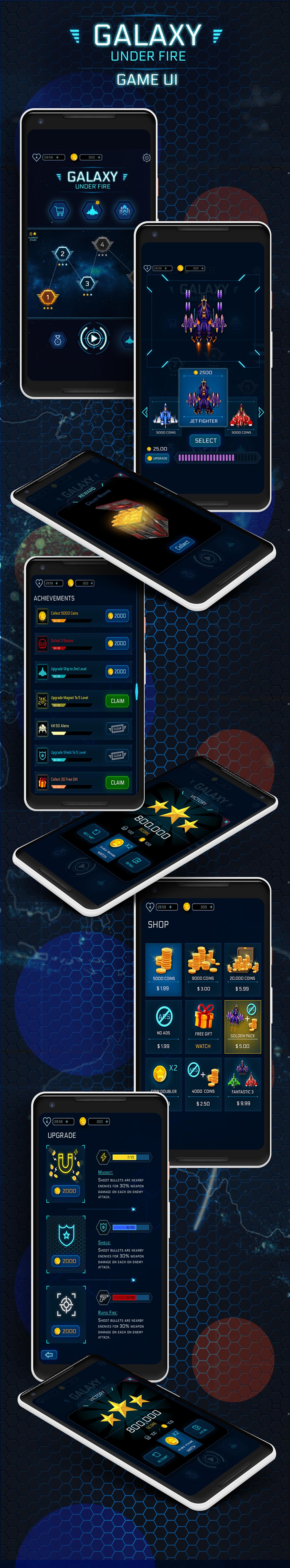 Galaxy Under Fire Game UI Design On Student Show - Game ui design
