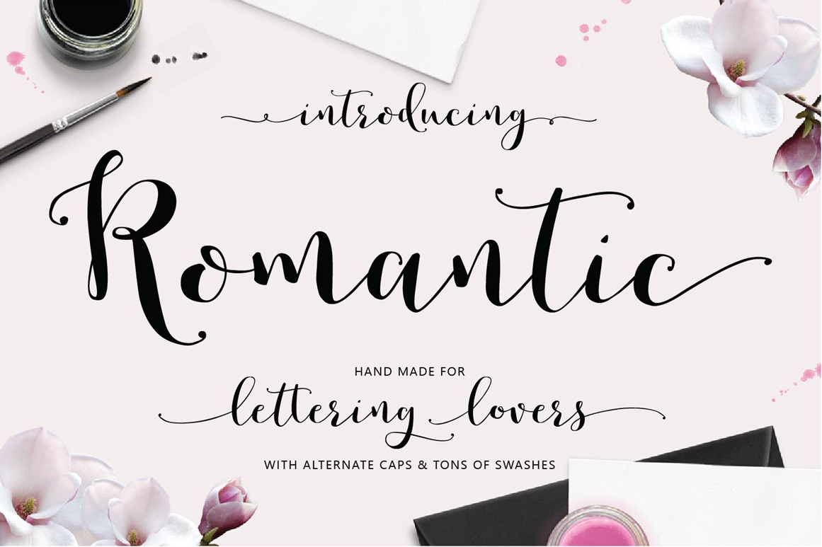 Romantic hand lettered script font on behance