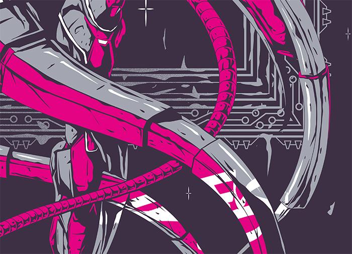 poster screen print pink esoteric