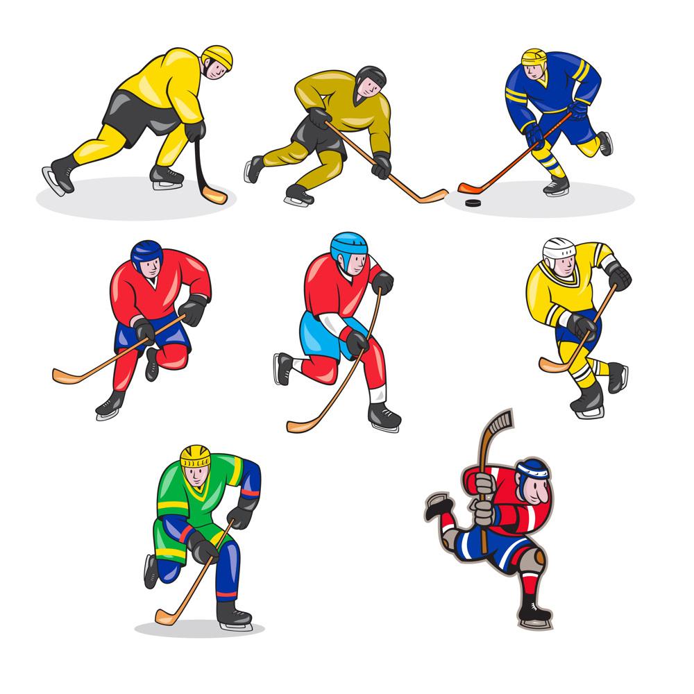Ice Hockey Player Cartoon Set On Behance