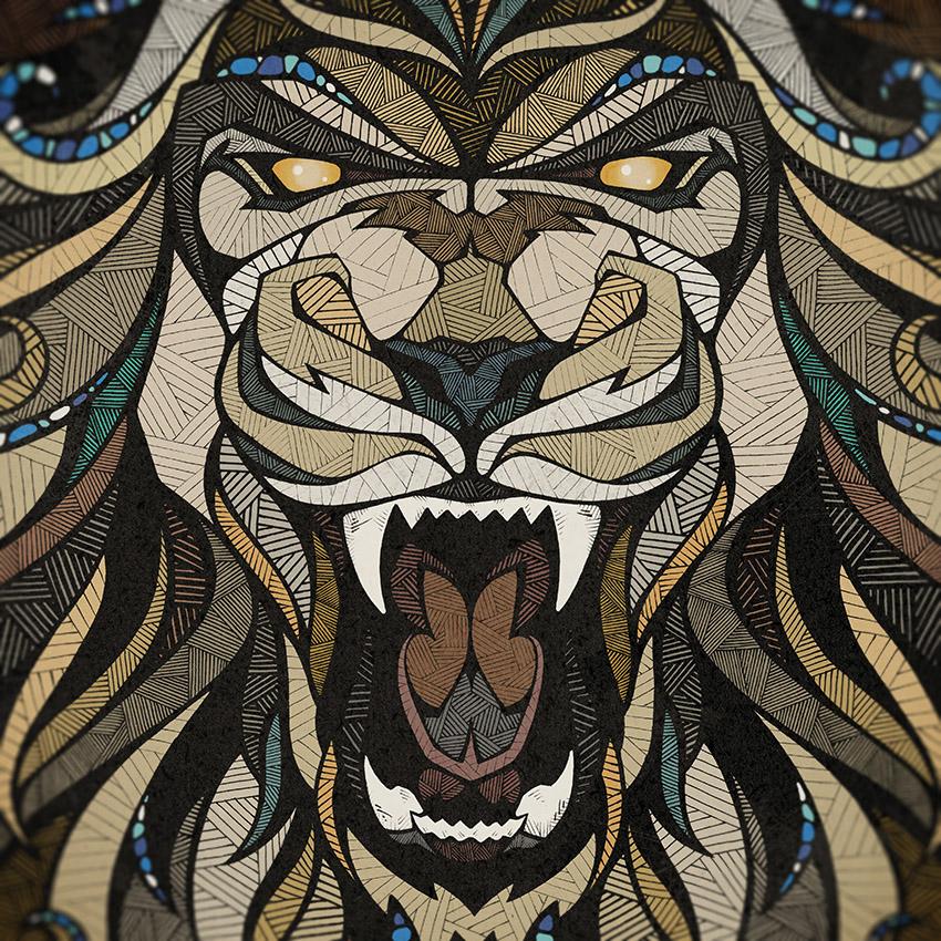 Adobe Portfolio lion owl bear hatching Marker Urban poster ornaments symmetry details contrast modernisme art nouveau jugendstil