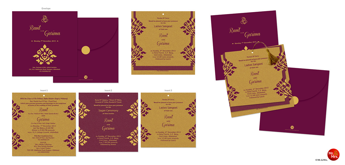 Wedding Invite Design for Ravit & Garima on Behance