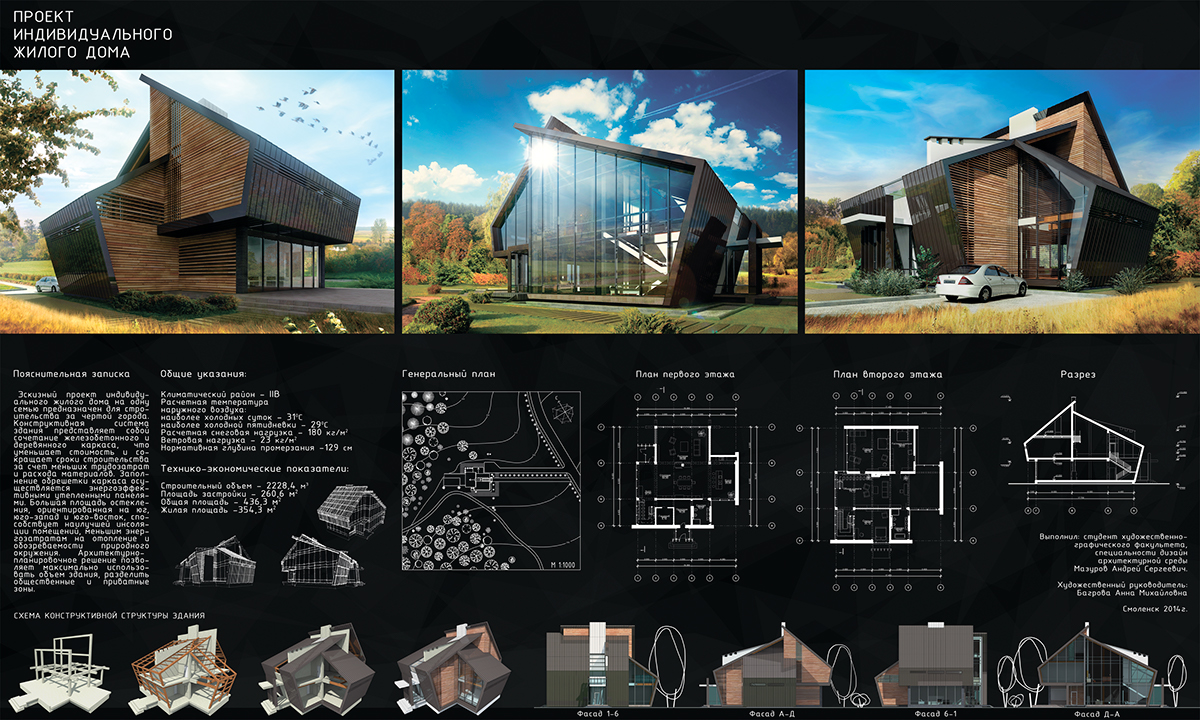 house vacation home concept Training Project Вентилируемый фасад architecture modern architecture student wacom collage retouch