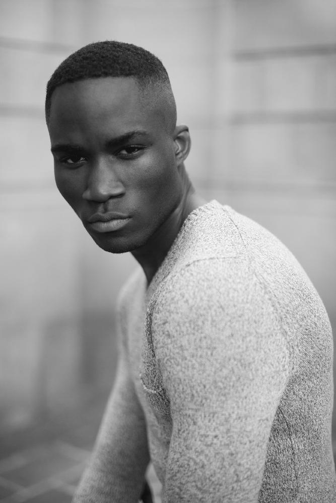 model man portrait black and white black