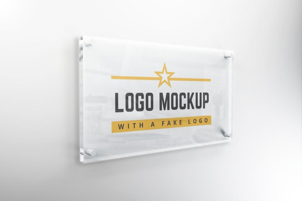 Company Logo Glass Signage Plate Mockup Psd Template On