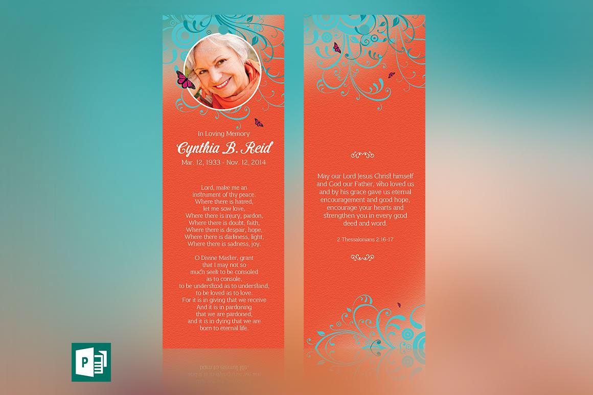Flourish Funeral Bookmark Publisher Template on Behance