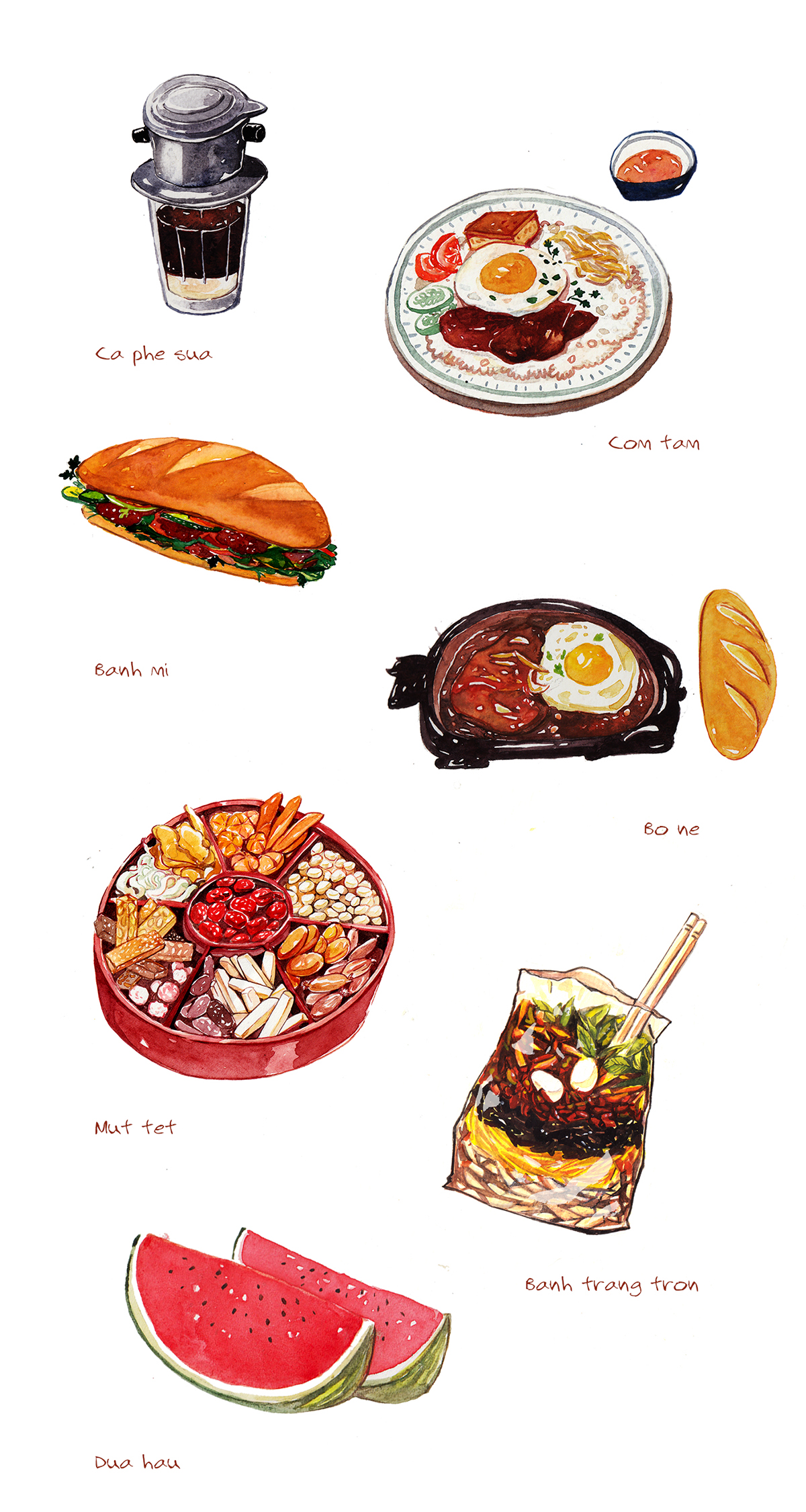Cuisine Illustration vietnamese food illustration on behance