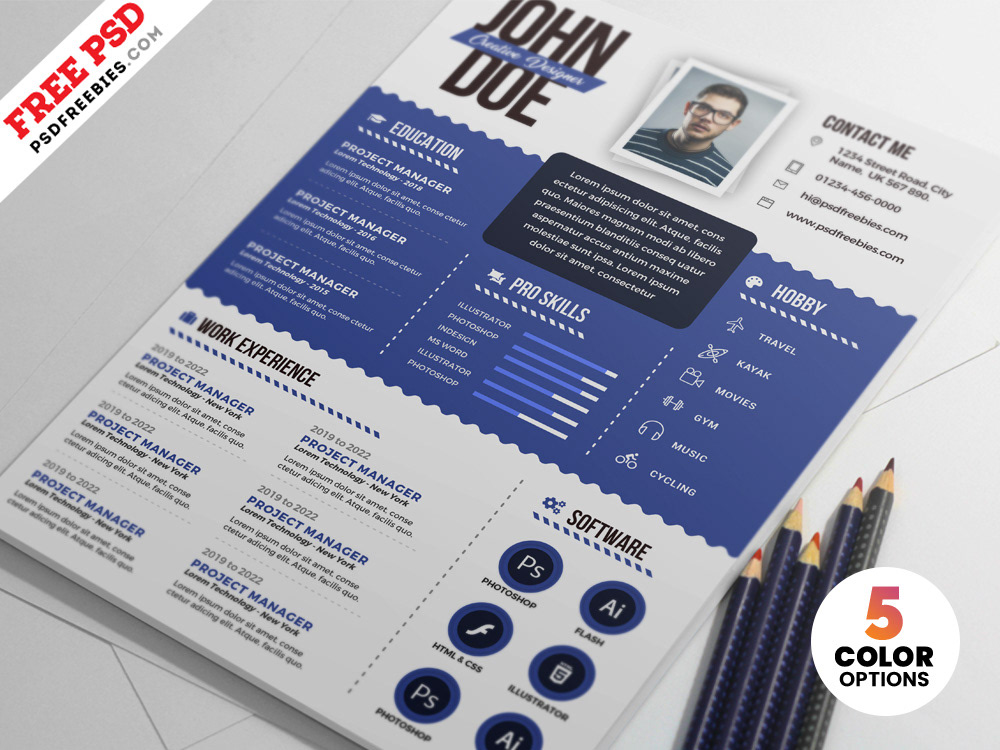 Download Free Graphic Designer Resume PSD Templates This Is Perfect For Photographers Web
