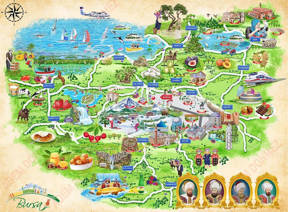 Bursa Cartoon Map Bursa Turizm Harita on Wacom Gallery
