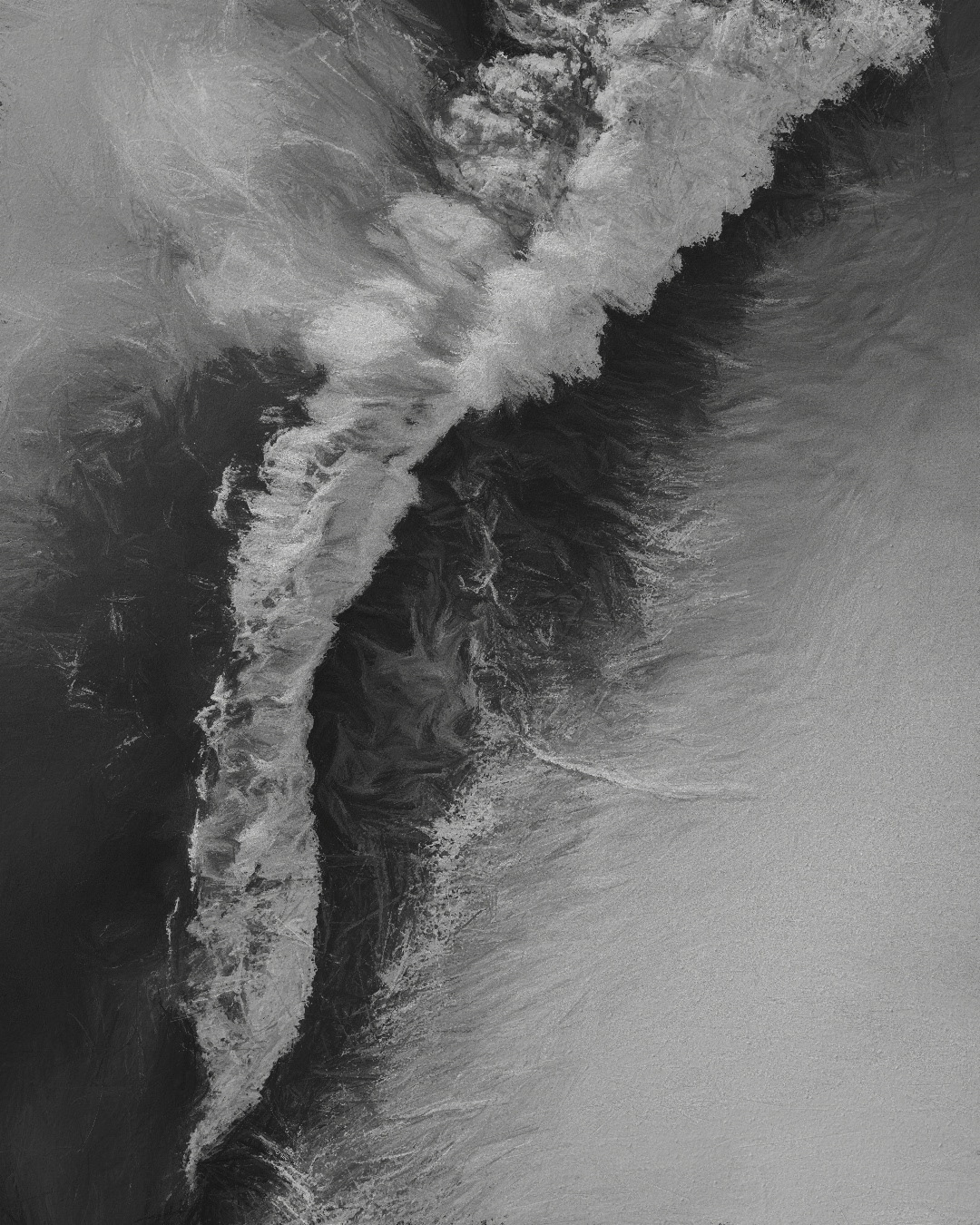 vagues DANCE WITH WAVES OCEAN FROM ABOVE pencil drawings bnw monochrome NVENTFISCHER