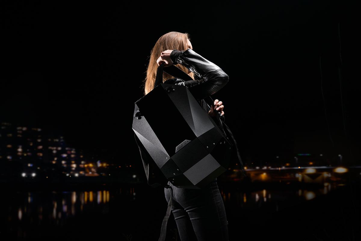 matte black stealth black future backpack design street fashion polygon