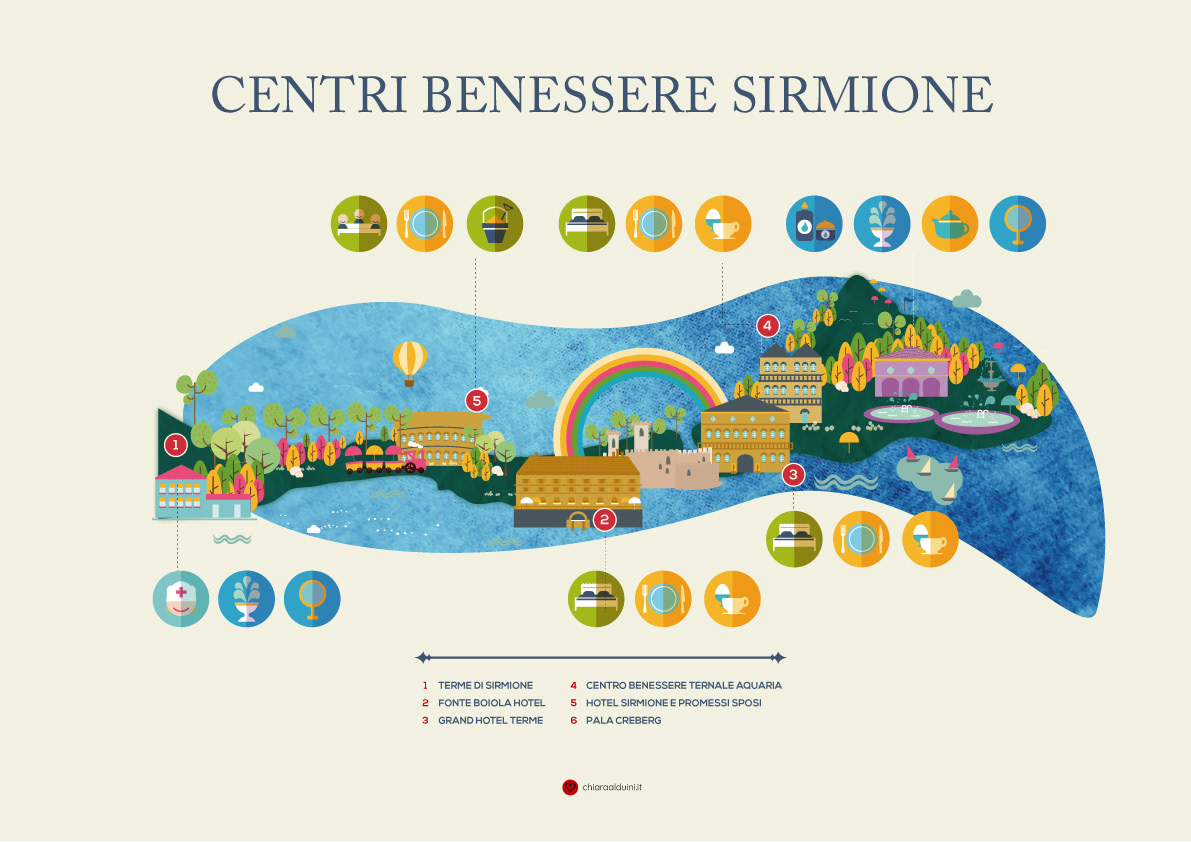 infographics garda lake Sirmione Hotels Sirmione Spa map Icon