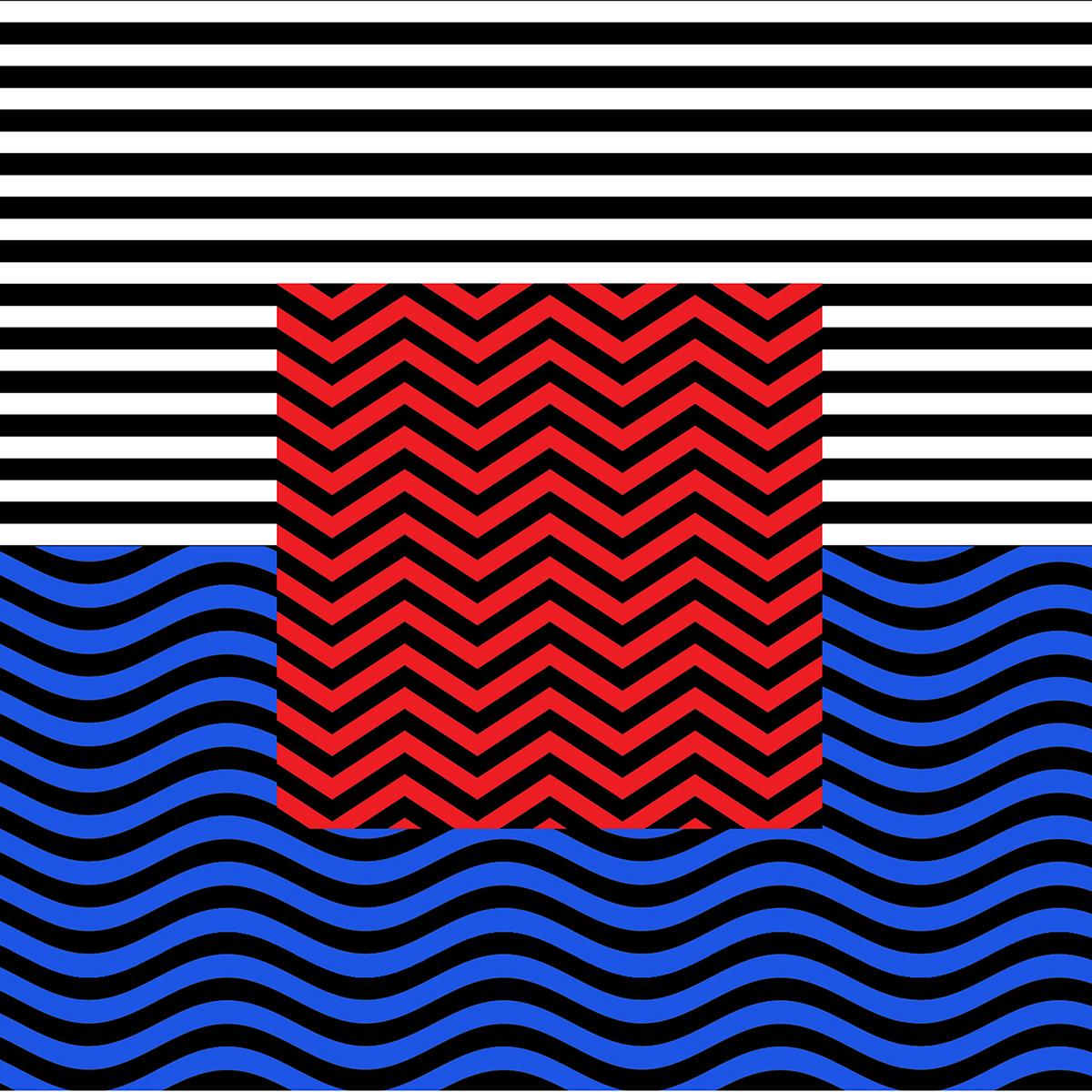 tile geometry opart wall art minimal flag