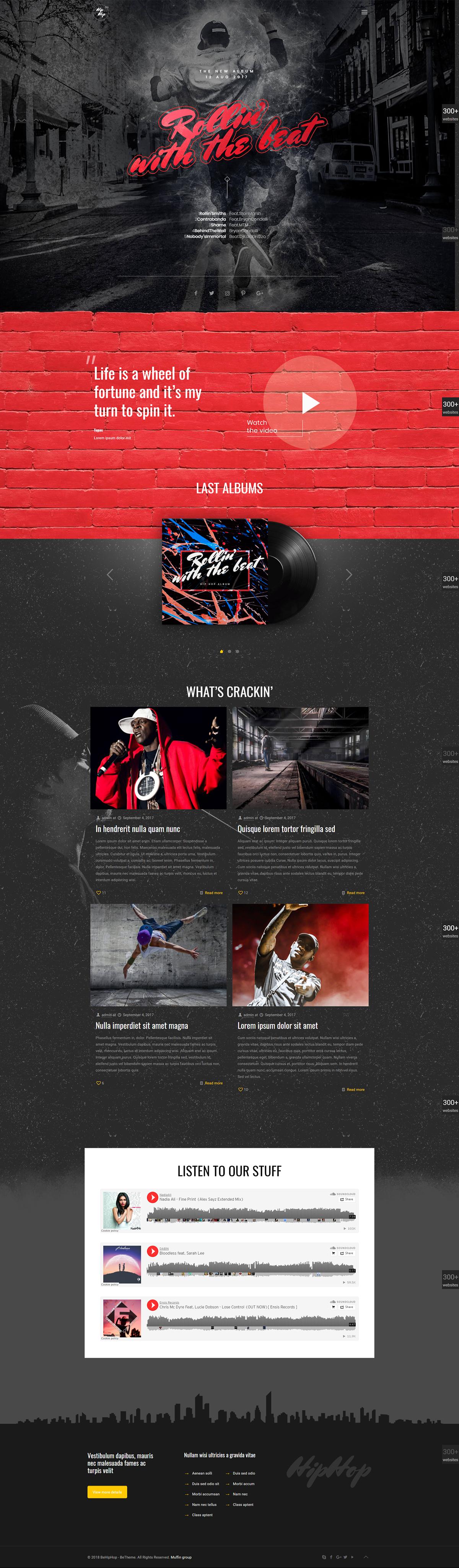 HIP HOP - WordPress Creative Website Template Design. on Behance