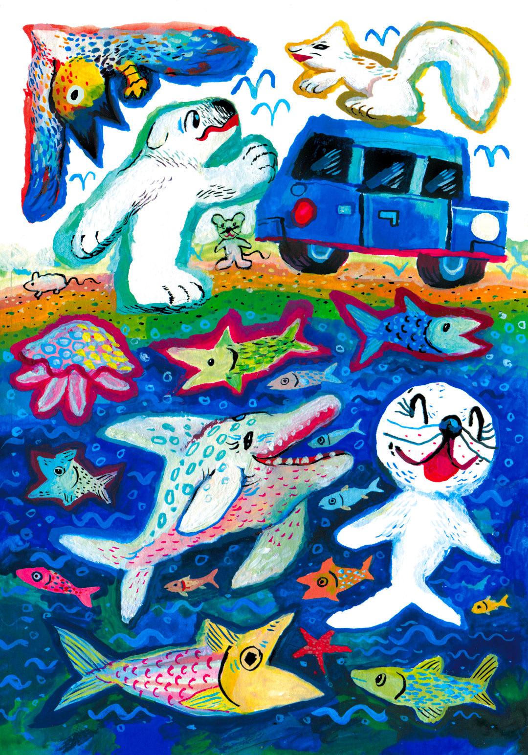 animal characters animal stickers Comic Book merchendise Sticker Design sticker sheet UV Stickers children's illustration