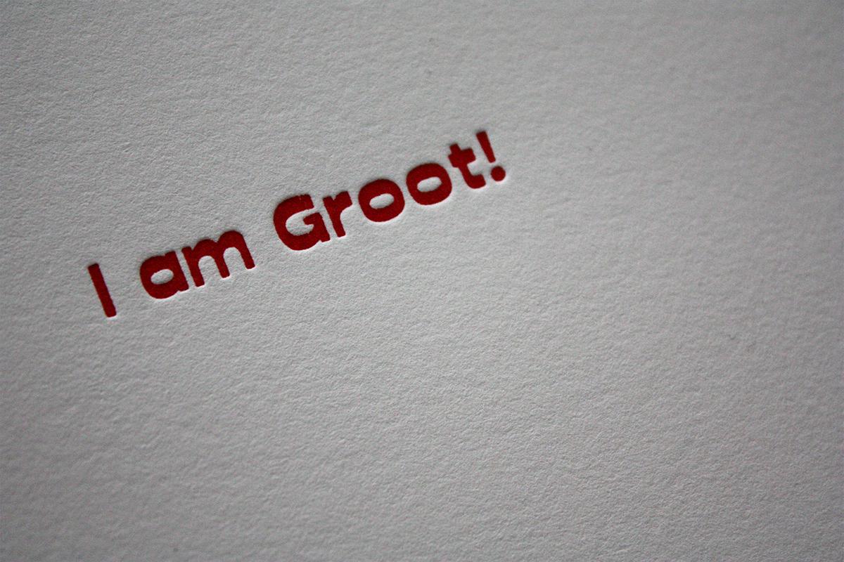 valentinecards letterpress iamgroot slowprint