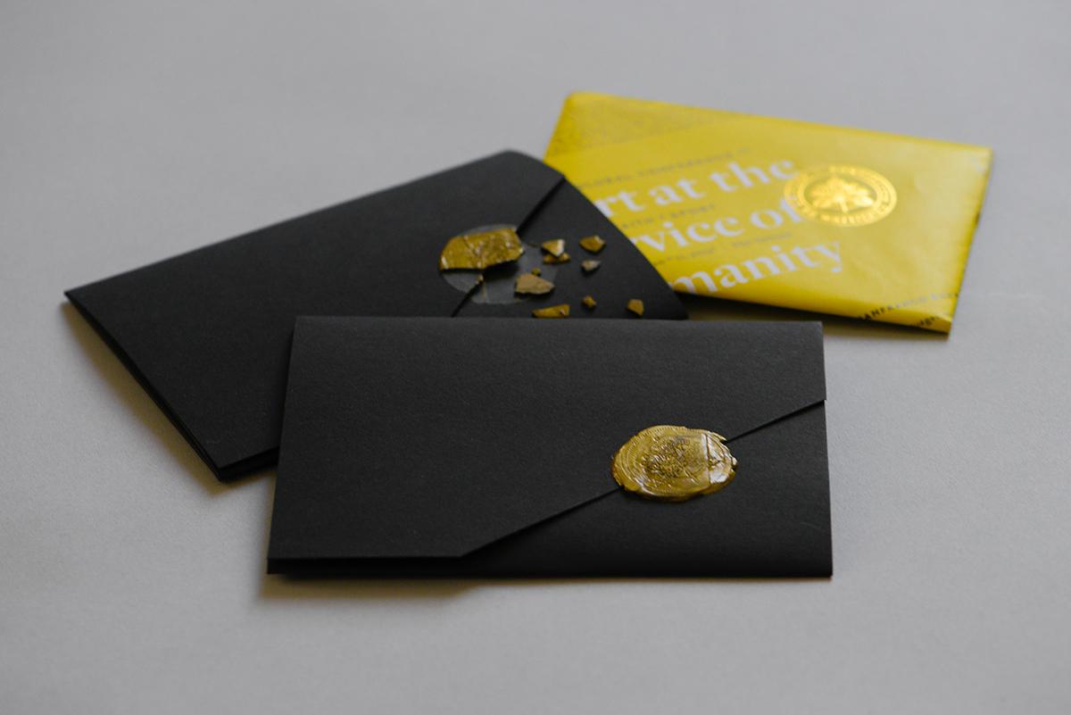 print Invitation Invitation Card seal wax letterpress typo Vatican City Event gold foil craft fold folding paper